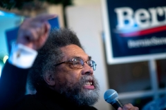 Harvard Divinity School Professor Cornel West is seen here campaigning for Sen. Bernie Sanders. (Photo by Mark Makela/Getty Images)
