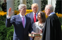 Then-Justice Anthony Kennedy administers the oath to Neil Gorsuch, April 10, 2017. (Photo by The Asahi Shimbun via Getty Images)