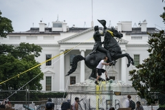 Ropes hang off the statue of Andrew Jackson in Lafayette Park across from the White House on June 22. (Photo by Drew Angerer/AFP via Getty Images)