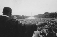 """Rev. Martin Luther King, Jr., speaking from the Lincoln Memorial at the """"Prayer Pilgrimage for Freedom' in 1957. (Photo by Paul Shutzer/The LIFE Premium Collection via Getty Images)"""