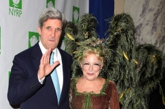 John Kerry an Bette Midler at the 15th Annual Hulaween Benefit Gala at the Waldorf-Astoria Hotel in New York City. (Photo by Walter McBride/Corbis via Getty Images)