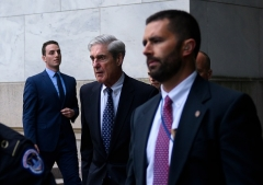 Former Special Counsel Robert Mueller leaves a hearing on Capitol Hill July 24, 2019. (Photo by ANDREW CABALLERO-REYNOLDS/AFP via Getty Images)