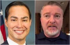 Julian Castro, left, the former HUD secretary under President Obama, and Mike O'Meara, president of the New York State Police Benevolent Association. (Getty Images, screenshot FNC)