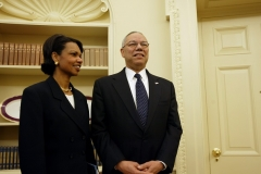 Former National Security Advisor Condoleezza Rice and former Secretary of State Colin Powell served in the George W. Bush administration. Rice eventually succeeded Powell as Secretary of State. (Photo by Brooks Kraft/CORBIS/Corbis via Getty Images)