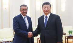 World Health Organization Director-General Tedros Adhanom meets with Chinese President Xi Jinping in late January. Tedros has repeatedly praised China's handling of the outbreak. (Photo: PRC Foreign Ministry)