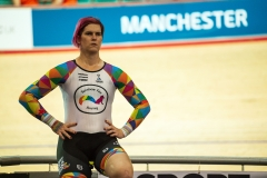 "Transgender ""female"" cyclist Rachel McKinnon has defended her right to compete in women's sport despite accepting trans athletes may retain a physical advantage over their rivals. (Photo by OLI SCARFF / AFP)"