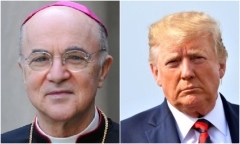 Archbishop Carlo Vigano, the former Vatican ambassador to the United States, and President Donald Trump.  (Getty Images)