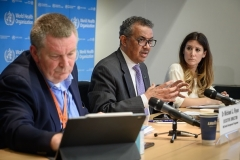 WHO infectious diseases epidemiologist Maria Van Kerkhove and emergencies program director Michael Ryan flank Director-General Tedros Adhanom during a briefing in Geneva. (Photo by Fabrice Coffrini/AFP via Getty Images)