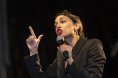 Rep. Alexandria Ocasio-Cortez (D-NY) lectures at the People Climate March. (Photo by Ole Jensen/Getty Images)