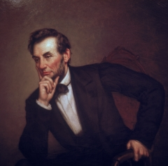 Portrait of American President Abraham Lincoln (1809 - 1865) (painted by George P. Healy, mid-late 1800s), Washington, D.C., 1969. (Photo credit: Katherine Young/Getty Images)