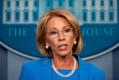 Secretary of Education Betsy Devos speaks during the daily briefing on the novel coronavirus, COVID-19, in the Brady Briefing Room at the White House on March 27, 2020, in Washington, DC. (Photo by JIM WATSON/AFP via Getty Images)