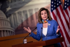 Speaker of the House, Nancy Pelosi, Democrat of California, holds her weekly press briefing on Capitol Hill in Washington, DC, on July 2, 2020. (Photo by BRENDAN SMIALOWSKI/AFP via Getty Images)