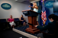White House Press Secretary Kayleigh McEnany speaks during the press briefing at the White House in Washington, DC on July 6, 2020. (Photo by JIM WATSON/AFP via Getty Images)