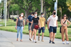 People seen walking on the beach side walk some wearing mask and some not wearing a face mask on July 06, 2020 in Miami Beach, Florida. (Photo by Johnny Louis/Getty Images)
