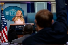 White House Press Secretary Kayleigh McEnany takes questions from reporters during the press briefing at the White House in Washington, DC, on July 13, 2020. (Photo by JIM WATSON/AFP via Getty Images)