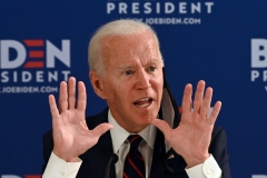 Democratic presidential hopeful Joe Biden gives a speech. (Photo credit: JIM WATSON/AFP via Getty Images)