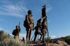 Featured is La Jornada, a sculpture depicting conquistador Juan de Onate's journey to colonize New Mexico. (Photo credit: PAUL RATJE/AFP via Getty Images)