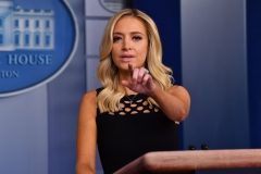 White House Press Secretary Kayleigh McEnany speaks to the press. (Photo credit: NICHOLAS KAMM/AFP via Getty Images)