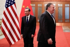 Secretary of State Mike Pompeo and his Chinese counterpart Wang Yi in Beijing. (Photo by Andy Wong/AFP/Getty Images)