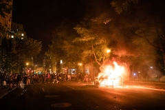 Rioters set a fire in the street a block from the White House while protesting the death of George Floyd at the hands of Minneapolis Police in Washington, D.C. (Photo credit: SAMUEL CORUM/AFP via Getty Images)