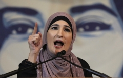 Palestinian American activist Linda Sarsour.  (Photo by John Moore/Getty Images)