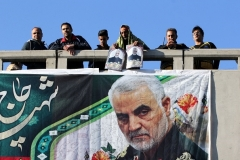 A banner featuring Qassem Soleimani's image is seen during his funeral in his hometown, Kerman, on January 7, 2020. (Photo by Atta Kenare/AFP via Getty Images)