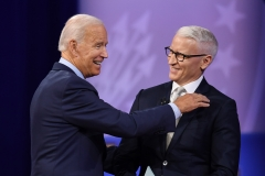 Democratic presidential nominee Joe Biden and openly gay CNN anchor Anderson Cooper. (Getty Images)