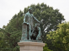 Bronze statue entitled 'Emancipation' depicts US President Abraham Lincoln and a newly liberated slave rising at his feet. The statue in Washington, D.C., was built almost entirely with funds donated by former slaves and dedicated in 1876. (Photo by Carol M. Highsmith/Buyenlarge/Getty Images)