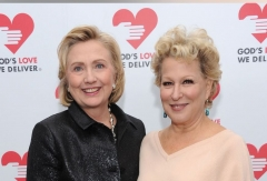 Bette Midler with Hillary Clinton, Oct. 16, 2013. (Photo by Dmitrios Kambouris/Getty Images for Michael Kors)