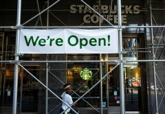 A re-opened Starbucks coffee store June 19, 2020 in the Brooklyn borough of New York City. (Photo by Robert Nickelsberg/Getty Images)