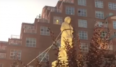 Christopher Columbus statue in Little Italy, Baltimore, Md., just prior to being torn down by radical protesters. (Screenshot, YouTube)