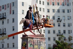 The statue of Confederate General J.E.B. Stuart is removed from Monument Avenue in Richmond, Virginia on July 7, 2020. (Photo by RYAN M. KELLY/AFP via Getty Images)