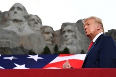 President Donald Trump arrives for the Independence Day events at Mount Rushmore in Keystone, South Dakota, July 3, 2020. (Photo by SAUL LOEB/AFP via Getty Images)