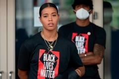 Washington Mystics WNBA player Natasha Cloud joins Washington Wizard NBA player Bradley Beal for a Juneteenth march and rally in Washington, DC, on June 19, 2020. (Photo by JIM WATSON/AFP via Getty Images)