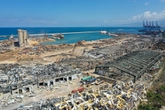 The destroyed port of Beirut, where a huge explosion last Tuesday devastated large swathes of the Lebanese capital. (Photo by AFP via Getty Images)