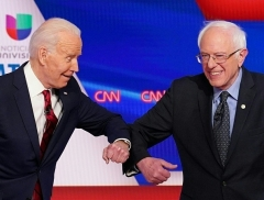 Democrat 2020 presidential candidates Joe Biden and Sen. Bernie Sanders campaign before Sanders suspended his campaign and endorsed Biden. (Photo by Mandel Ngan/AFP via Getty Images)