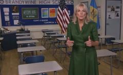 Dr. Jill Biden, wife of Democrat presidential nominee Joe Biden, sends a videotaped message to Democrats from an empty school building in Delaware. (Photo: Screen capture)