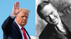 Featured are President Donald Trump and actor Orson Welles, who played Citizen Kane. (Photo credit: SAUL LOEB/AFP via Getty Images and Silver Screen Collection/Getty Images)