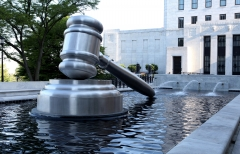 A sculpture of a gavel appears outside the Supreme Court of Ohio. (Photo credit: Raymond Boyd/Getty Images)