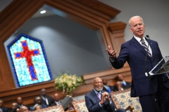 Democratic presidential candidate Joe Biden speaks as he attends Sunday service at the New Hope Baptist Church in Jackson, Mississippi on March 8, 2020. (Photo credit: MANDEL NGAN/AFP via Getty Images)