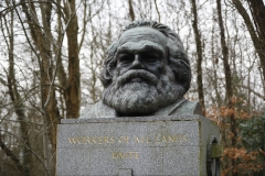 The bronze bust on top of the monument at the tomb of German revolutionary philosopher Karl Marx, a Grade I-listed monument, is seen in Highgate Cemetery in north London on February 5, 2019. (Photo credit: TOLGA AKMEN/AFP via Getty Images)