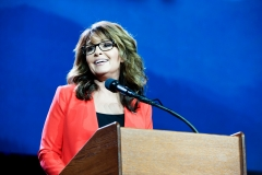 Former Alaska governor and 2008 Republican party vice presidential nominee Sarah Palin addresses the audience at the 2016 Western Conservative Summit in Denver, Colorado on July 1, 2016. (Photo credit: JASON CONNOLLY/AFP via Getty Images)