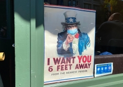 The iconic Uncle Sam poster, shown here in San Francisco, is updated for the pandemic era. (Photo by DANIEL SLIM/AFP via Getty Images)