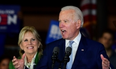 Democrat presidential hopeful Joe Biden, accompanied by his wife Jill Biden, speaks at a Super Tuesday event in Los Angeles on March 3, 2020. (Photo by FREDERIC J. BROWN/AFP via Getty Images)
