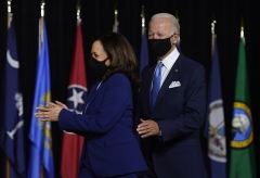 The Joe Biden-Kamala Harris Democrat presidential ticket makes its first public appearance in Wilmington, Delaware, on August 12, 2020. (Photo by Olivier DOULIERY/AFP via Getty Images)