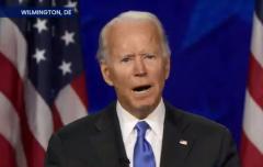 Raising his voice, Democrat Joe Biden winds up his acceptance speech without a smile. (Photo: Screen capture)