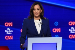 Former Democratic presidential hopeful Senator Kamala Harris, now the VP hopeful, takes part in the fourth Democratic primary debate of the 2020 presidential campaign season in Westerville, Ohio on October 15, 2019.(Photo by SAUL LOEB/AFP via Getty Images)