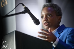 Chicago Mayor Lori Lightfoot discusses the looting of downtown Chicago on the night of Aug. 9-10, 2020. (Photo by Timothy Hiatt/Getty Images)