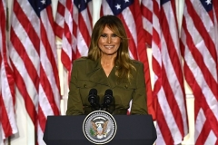 First Lady Melania Trump addresses the Republican Convention from the White House Rose Garden on August 25, 2020. (Photo by BRENDAN SMIALOWSKI/AFP via Getty Images)