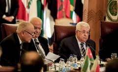 Palestinian Authority chairman Mahmoud Abbas at an Arab League meeting in Cairo last February. (Photo by Khaled Desouki/AFP via Getty Images)